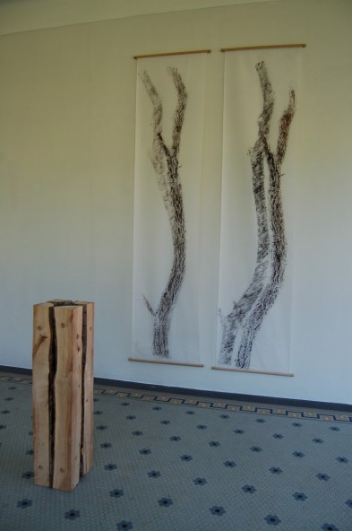 Square tree trunk (private collection) and prints (private collection)